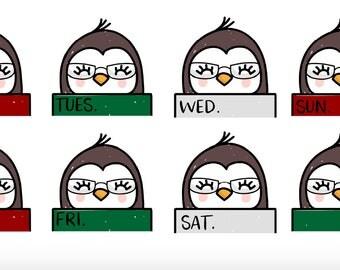 Penguin Hand Drawn Monthly Headers - Planner Stickers - Happy Planner/Erin Condren/Recollections/Plum Paper Planner/Vertical 9x7 Planners