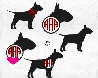 Dog svg, English bull terrier svg, Bull terrier svg, Dog clipart, Dog silhouette, Monogram svg,  Cricut, Cameo, Clipart, Svg, DXF, Png, Eps