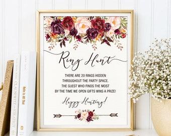 Ring Hunt Game. Rustic Floral Bridal Shower Printable. Bachelorette Hens Party Ring Game. Garden Boho Wedding Sign. Autumn Fall Decor. FLO19