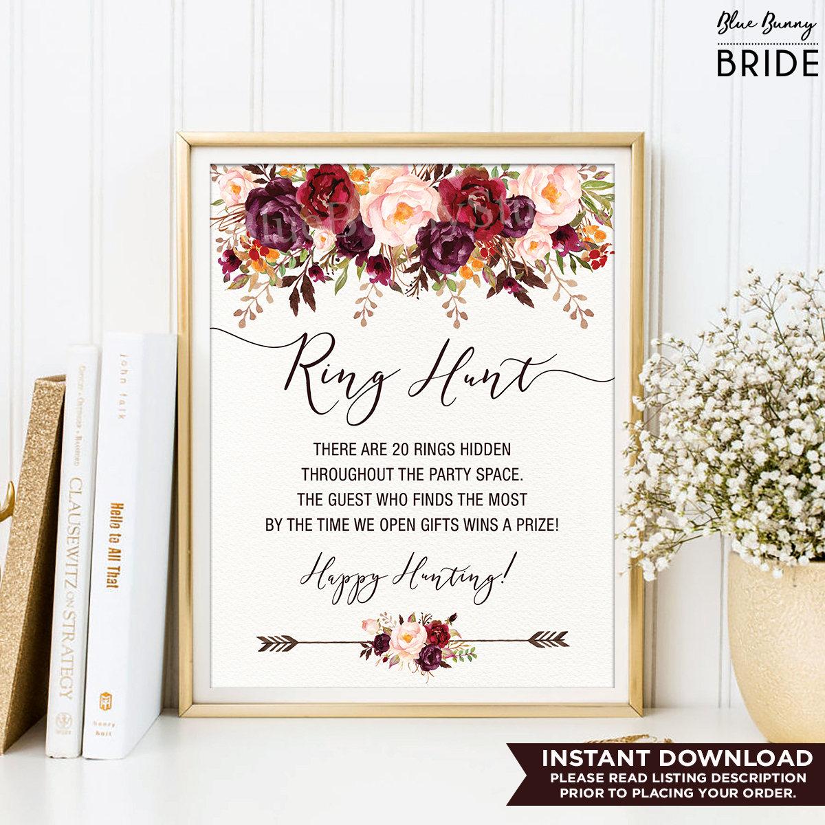 Ring Hunt Game. Rustic Floral Bridal Shower Printable
