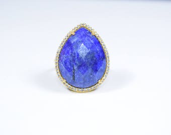 sapphire ,gemstone ring,blue color ring,gold plating ring,sapphire zircon ring,pave ring,natural stone ring,Christmas ring, birthday gift