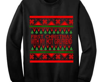 Ugly sweater, ugly christmas sweater,  snowman, Girlfriend, Boyfriend, First Christmas, announcement, couple gifts, sweaters, For Couples