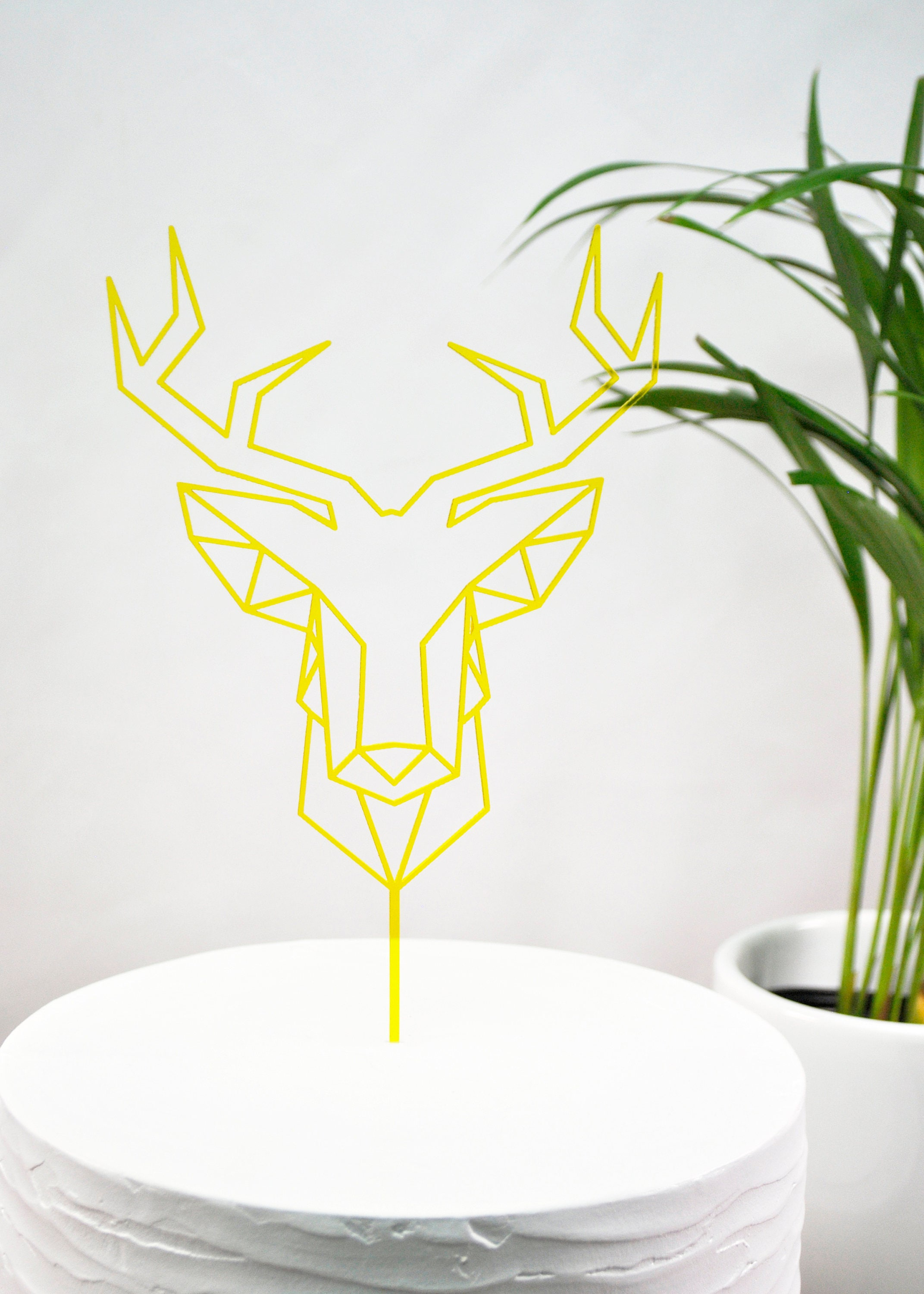 Laser Cut Geometric Deer Head Party Birthday Wedding Cake Topper ...