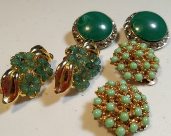 Vintage Lot of Green Clip On Earrings