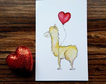 Llama Llove Valentine Card
