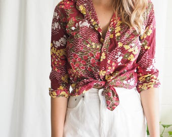 vintage button up red floral shirt