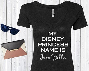 My Disney Princess Name is Taco Belle  Inspired V neck Tshirt. Disneyworld Custom Shirt. Funny disney shirt. [E0508]