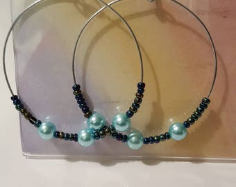 Ladies Large Hoop earrings/Turquoise/jewelry