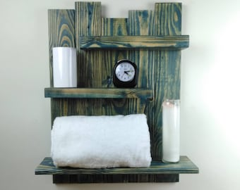 Distressed Wood Blue Bathroom Wall Shelf – Coastal Decor Reclaimed Wood Wall Shelves – Blue Bathroom Shelves – 3 Tier Bathroom Shelving Unit