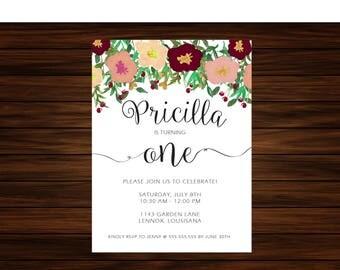 Floral Birthday Invitation by Printable Papery [printable]