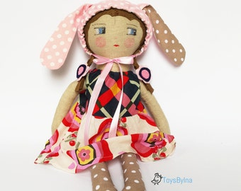 Rag doll  Heirloom doll  Handmade toy  Cloth doll  Fabric doll  Toddler toy  Bunny doll  Sensory toy   Gift for girl  Imaginative play