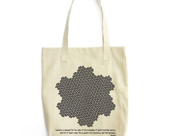 Plato and Gosper Curve science tote bag