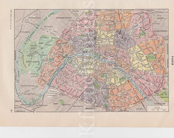 Paris Map French vintage original color print 1920's to frame wall art , poster