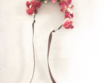 dried flower crown, wedding, birthday, music festival, photoshoot, costume. celosia, pink head wreath, floral crown. real flowers