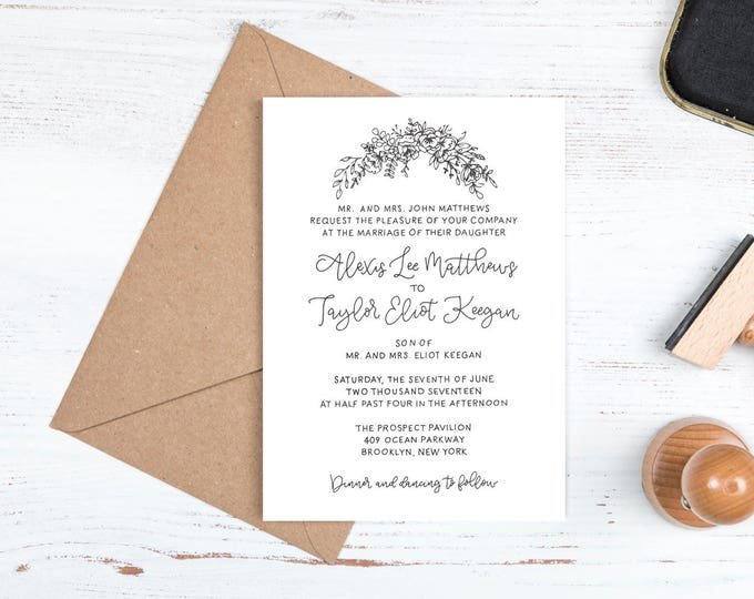 Featured listing image: Floral Wedding Invitation Suite - Handwritten Modern Calligraphy - Personalized Customized - Floral Greenery - Watercolor - Rustic