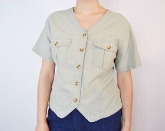 Vintage Sage Green Linen Cotton Blend Button Up Size Medium