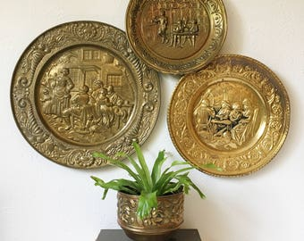 Vintage Hammered Brass Wall Hangings + Set of 3 + Brass Plates + Made in England + Mid Century Modern Pub Kitchen Art + MCM