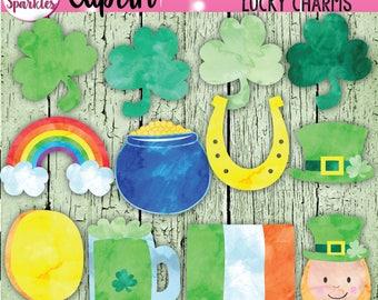 Watercolor Clipart, Saint Patrick's Day Clipart, Leprechaun Clipart, Shamrock Clipart, Irish Clipart, Pot of Gold Clipart, Watercolor