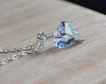 Dainty Blue Heart Necklace in Sterling Silver, Gift Idea For Wife, Handmade Necklace, Collier Coeur de Crystal Bleu, Neos Jewelry
