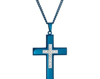 "Blue-Tone Cross with Silver-Tone Diamond Cut Jesus Cross Necklace Pendant in Stainless Steel, 18""- 24"" Chain"