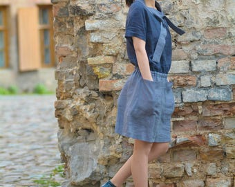 Handmade linen shirtwaist dress with side pockets / shirt waist dress with side pockets / linen dress