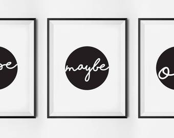 Nope. Maybe. Ok, typography poster, printable quote, wall art, digital prints, scandinavian print