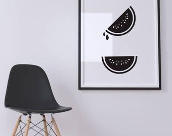 Watermelon, printable, wall art, digital prints, black and white illustration poster