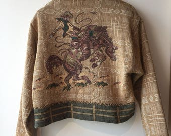 Beautiful Vintage Brown Western Jacket with Embellished Rodeo Motif