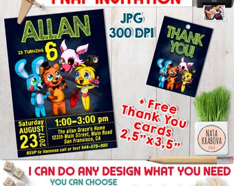 Five Nights at Freddy's invitation + free Thank you cards. 5 nights at Freddy's Party Printables. FNAF invitation. 3 colors