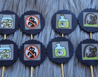 Halloween Cupcake Toppers, Cake Toppers with Black Cat, Eyeballs, Zombie Fingers and Zombies Prohibited. Perfect for Halloween