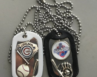 Chicago Cubs Dog Tag Necklace, championship and regular logo