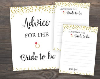 Advice for the Bride to be, Bridal Shower Games, Advice for Bride Cards Printable, Bridal Advice Cards,Gold Confetti Bridal Shower, J001