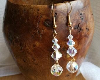 AB Swarovski Crystal and Gold Earrings - ES 8