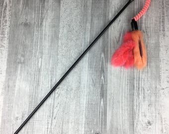 Cat toy | Dyed rabbit fur cat teaser toy on a elastic string | Fur cat toy | Teaser cat toy | Strong cat toy