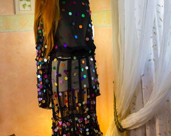 transparent full shirt and skirt a thousand colors mirrors