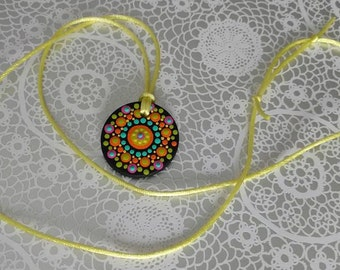 FREE SHIPPING / Hand Painted Necklace / Mandala / Dot Jewelry / Mandala Art / Dot Painted Pendant / Painted Wooden Necklace #A2