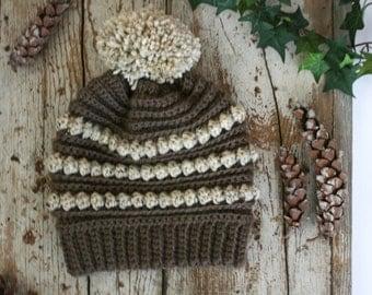 CROCHET PATTERN / crochet bobble beanie pattern / rustic hat pdf pattern / winter slouchy beanie / beginner crochet pattern / pompom hat