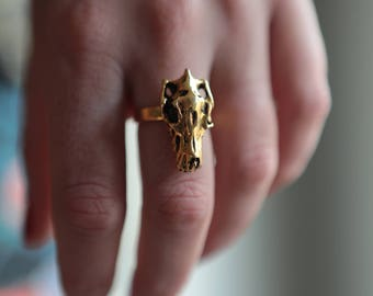 Wolf skull gold plated ring