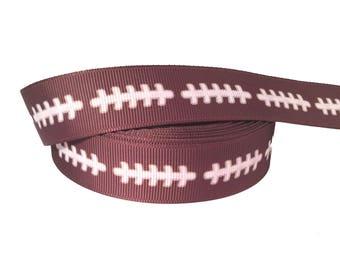 "7/8"" Football  ~  Grosgrain Ribbon ~ Trim ~ Hair Bows ~ Gift Wrap ~ Scrapbook ~ Sports"