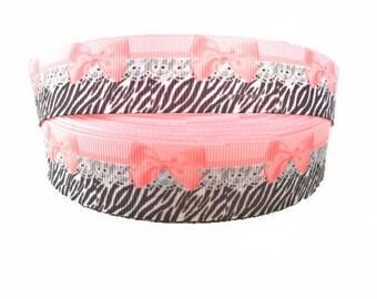 "1"" Pink Bow ~ Zebra Print ~ Lace ~  Grosgrain Ribbon ~ Trim ~ Hair Bows ~ Gift Wrap ~ Scrapbook ~ 1 inch"