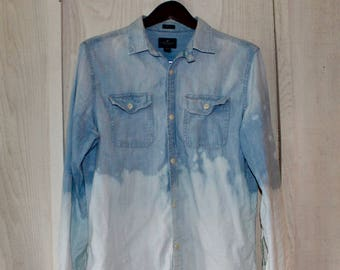 Hand-Bleached Denim Shirt