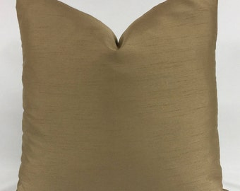 Pillow Cover - Gold Dupioni Silk - Solid Color - Lined - Zippered