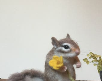 Needle Felted Chipmunk,Felted Animal,Handmade