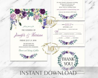 Floral|Purple|Mint|Printable Wedding Invitation Suite|Template|Instant Download|Succulent|Garden|DIY|Greenery|Watercolor|Custom|Editable