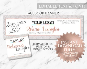 Rose Gold and Marble RF Facebook Banner INSTANT Templates