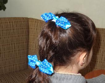 Blue bows, girl's accessories, hair bow