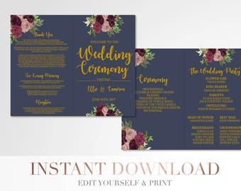 Printable Folded Marsala Floral Wedding Program // Custom Program // Wedding Program // Navy and Gold // Wedding Stationery // Flowers
