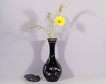 Vase. Glass, black. Germany, 50s. Vintage flower vase. Mid century interior decoration.