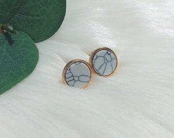 Marble Studs | Howlite Earrings | Howlite Studs | Marble Studs | White Howlite Jewelry