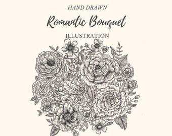 Hand Drawn Romantic Bouquet- line drawing, flowers, plants, botanical, rustic, romantic